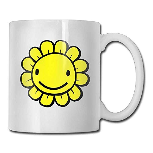Nisdsgd Yellow Smile Sunflower Coffee Mugs 11 Oz Office Gift Ceramic Tea Cup, The for Family and Friends, Fun White Coffee Cup 3.14W x 3.74H(8x9.5cm) 16 Oz Tall Iced Tea