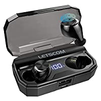 Wireless Headphones, LETSCOM Bluetooth 5.0 Headphones 80 Hours playtime, Deep Bass Stereo Sound Wireless Earphones with Mic, Smart Touch Control and LCD Digital Display, 2600mAh Charging Case