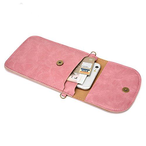 Téléphone Sac,Vandot 2in1 PU Cuir Mini Pochette Universal Case (180mm*120mm*20mm) pour iPhone 7(4.7)/7 Plus(5.5)/6S(4.7)/6S Plus(5.5)/SE/5/5S,Galaxy S3/S4/S5/S6/S7edge/Note 3/4/5 Housse Hippie Style P Fleur - Brun