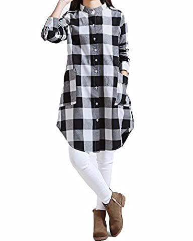 ZANZEA Damen Kariert Plaid Button Langarm Hemd Casual Longshirt Tunika Top Schwarz EU 46 / US 14