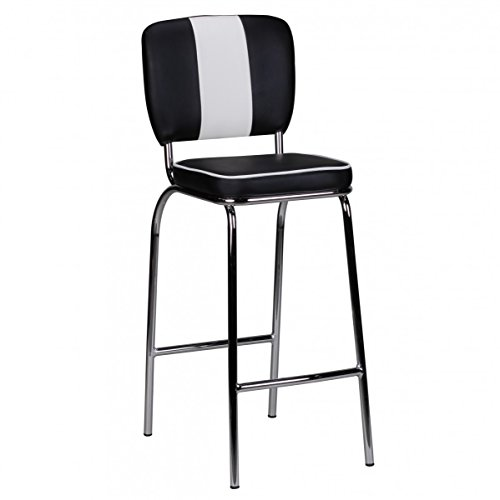ng American Diner 50er Jahre Retro Barstuhl | Sitzfläche gepolstert mit Rücken-Lehne | Thekenstuhl mit Fußstütze | Sitzhöhe 76 cm | Farbe: Schwarz Weiß ()