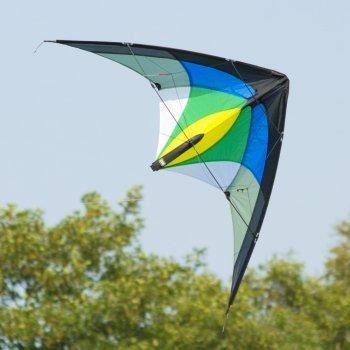 CIM Lenkdrachen - 1-2-SEVEN Cool - Drachen für Kinder ab 8 Jahren, fliegt in einem extrem großen Windbereich - Abmessung: 104x52cm - inkl. Steuerleinen mit Gurtschlaufen