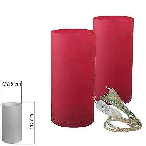 Tischleuchte Glas 2er Set rot Tischlampe E14 in Zylinder Form Höhe 20cm