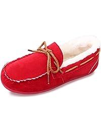 ukStore Damen Herren Mokassins Warm Gefüttert Bootsschuhe Wildleder Winter Schuhe Leicht Hausschuhe Slipper Kuschelig Erbsenschuhe Loafers,Grau 39