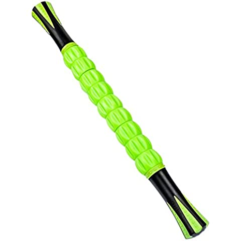 CrazyFire músculo rodillo stick, 18inch Auto masaje herramienta, portátil cuerpo punto de activación muscular rodillo masajeador de piernas para deportistas Fitness corredores ayuda para aliviar el dolor, recuperación, reducir el dolor rigidez, terapia física herramienta (verde)