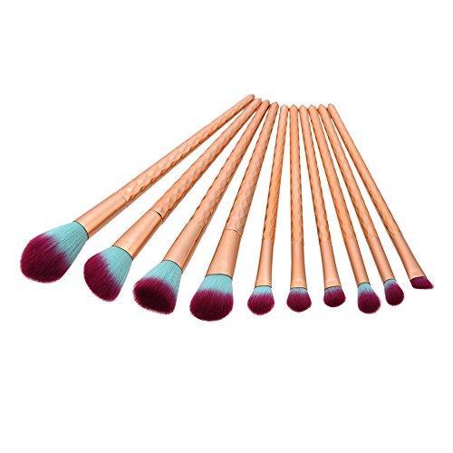 Yocitoy Protable Makeup Brushes Set Alveolate Handle Lipbrush Eye Shadow Concealer Make Up Brush Tools (10pcs)