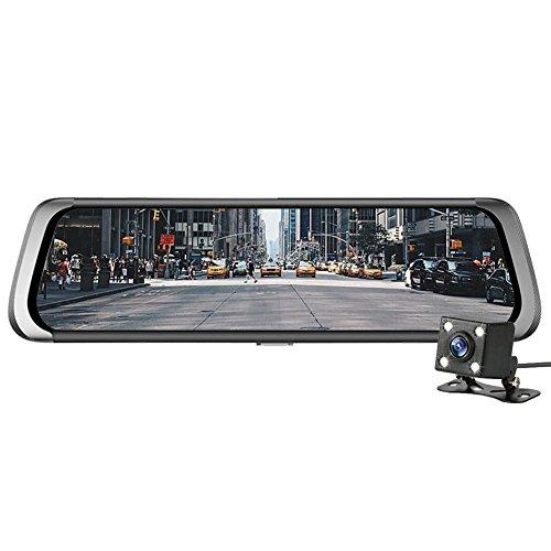 Prettygood7 Rückspiegel, mit 2 Objektiven, BT WiFi, Android Digital Portable Dvr