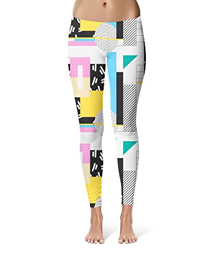80s Pattern Sport Leggings - Full Length, Mid/High Waist - up to 5XL