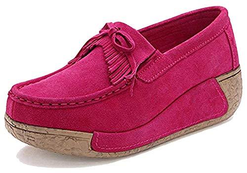 Eagsouni Mokassins Damen Loafers Halbschuhe Casual Fahren Schuhe Plateau Wildleder Slip on Slipper Keilabsatz Freizeitschuhe -