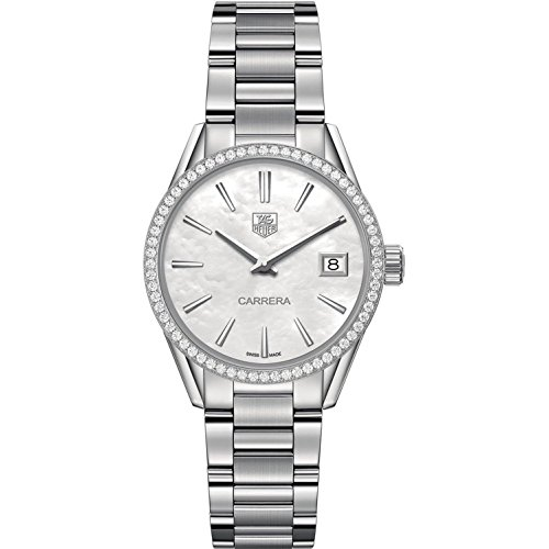 TAG Heuer Women's Carrera Diamond 32mm Steel Bracelet & Case Swiss Quartz MOP Dial Watch WAR1315.BA0778