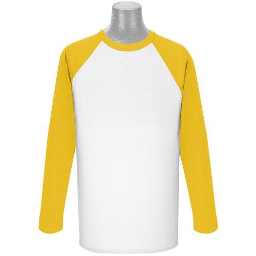 Soffe Klassisches Raglan-T-Shirt, 3/4-Ärmel, Weiß/Marineblau, Größe XL -