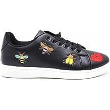 SHY43 * Baskets Tennis Sneakers Simili Cuir avec Patchs Bouche Abeilles Multicolore (Noir)