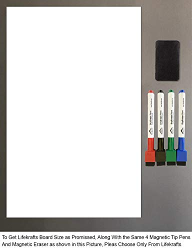 Lifekrafts Magnetic White Board Sheet - Dry, Erase. Can Be Stuck On Refrigerator Or Any Metal Surface| Eraser with Magnet