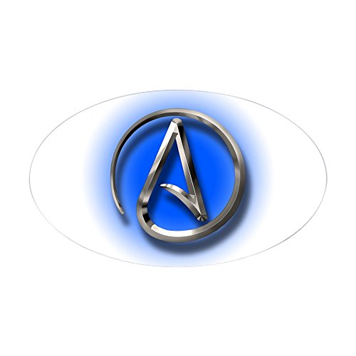 CafePress–Atheist Logo (blau) Aufkleber (Oval)–oval Bumper Sticker KFZ Aufkleber, weiß, Large - 4.5x7.5