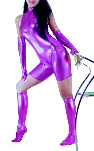Schwarz gummiert Avatar Kleidung/Kostüme/Kleidung/Body Gymnastik-ärmellos-Kleidung/Körper Anzüge S-lila