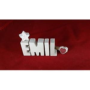 Beton, Steinguss Buchstaben 3D Deko Namen EMIL als Geschenk verpackt!