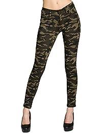 CASPAR HLE025 Vaqueros Pitillos para Mujer / Pantalón Legging Camuflaje de Estilo 5 Bolsillos
