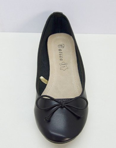 SHS10 - Ballerines Souples Noeud Semelle Cuir - Chaussures Mode Femme Noir