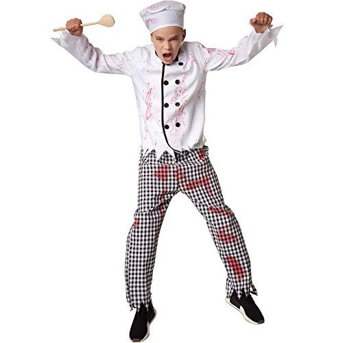 dressforfun 900431 - Jungenkostüm gruseliger Koch, Blutbeflecktes Koch-Kostüm in Schwarz und Weiß (158 | Nr. 302219) (Zombie Koch Kostüm)