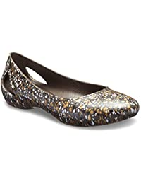 crocs Laura Graphic Brown Women Flat
