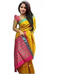 Sarees (Women's Clothing Saree For Women Latest Design Wear Sarees New Collection In YELLOW Coloured BHAGALPURI...
