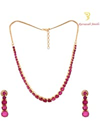 Ratnavali Jewels American Diamond CZ Gold Plated Designer Jewellery Set/ Necklace Set Single Line Red Ruby With...