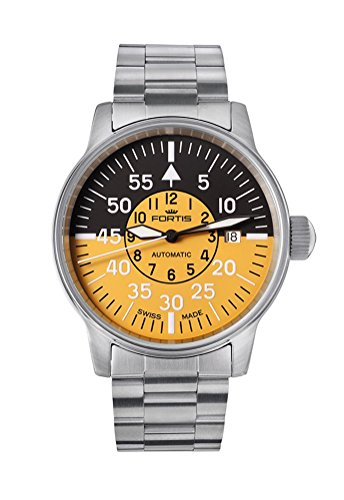 Fortis Flieger Cockpit Automatic Stainless Steel Mens Watch Black & Yellow Dial 595.11.14.M