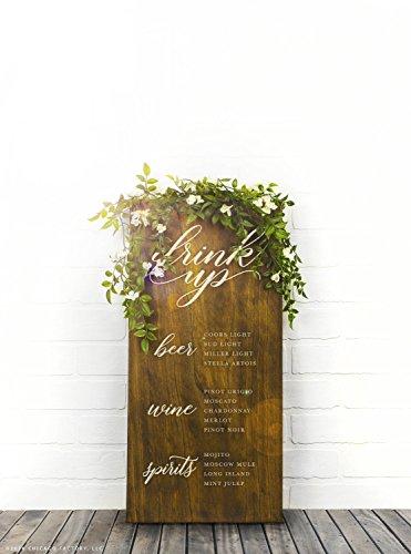CELYCASY GP1189 rustikales Hochzeits-Trinkschild, Speisekarte, Menü-Board, Holz-Menü-Schild, Getränke-Schild, Bar-Menü, Hochzeitsdekoration, Buffet-Schilder - Outdoor-menü-board