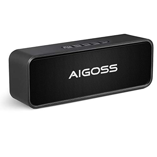 Aigoss Bluetooth Speaker, Portable Wireless Speaker with Enhanced Bass, Built - in Dual Driver Stereo Speakerphone, Supports Bluetooth, Handsfree Calling, FM Radio and TF Card Slot Black