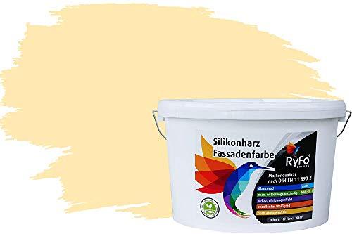 RyFo Colors Silikonharz Fassadenfarbe Lotuseffekt Trend Honiggelb 10l - bunte Fassadenfarbe, weitere Braun Farbtöne und Größen erhältlich, Deckkraft Klasse 1
