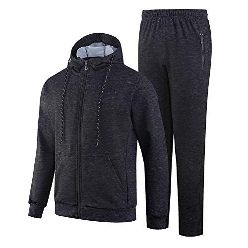 ZWYY Herren-Tracksuit, Casual Long Sleeve Sportswear Full-Zip Running Jogging Sports Activewear Spring Fall 2 Piece Set Top and Pants,Black,XXL Black Hooded Jogging-set