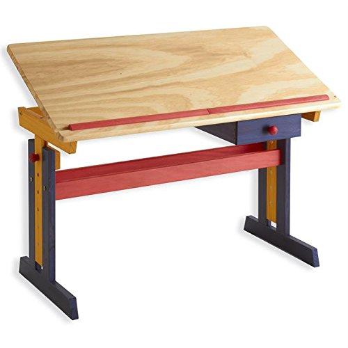 Vente IDIMEX Bureau enfant écolier junior FLEXI table à dessin réglable en hauteur et pupitre inclinable avec 1 tiroir en pin massif lasuré multicolore