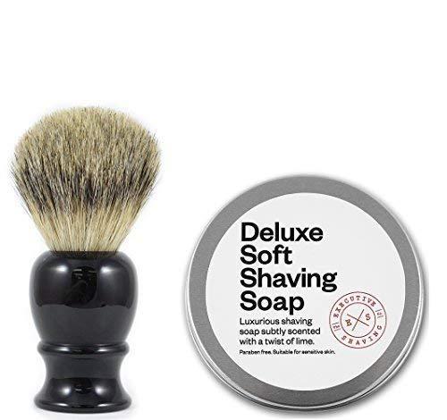 Executive Shaving Best Blaireau Brosse avec Résine Noir Poignée et 100g Deluxe Doux Rasage Savon Citron Parfum