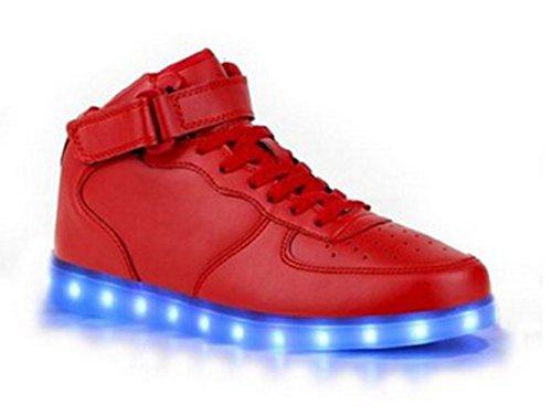 (Present:kleines Handtuch)JUNGLEST® 7 Farbe Wechseln USB aufladen LED-Licht Leuchtend Mode Sportschuhe Freizeitschuhe Outdoorschuhe Laufschuhe Schuhe Sneaker f Rote