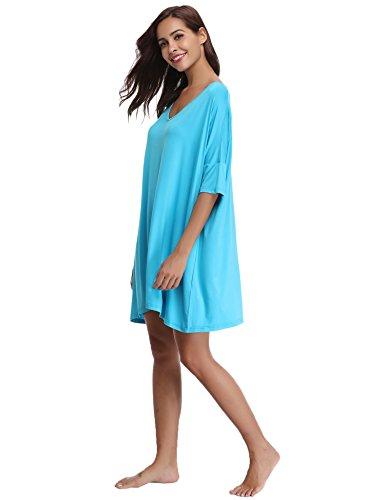 Aibrou Damen Nachthemd Nachtkleid Kurz Sommer Nachtwäsche Negligee Umstandskleid Stillnachthemd Sleepshirt aus Modal
