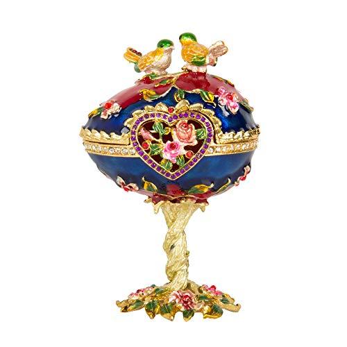 Qifu-hand Painted émaillé Œuf Fabergé Style décoratif à charnière Bijoux Boîte à bijoux...