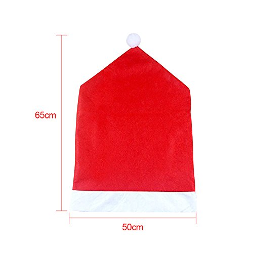 CosyVie Christmas Chair Back Covers Santa Claus Hat Slipcovers Classical for Dining Chair Decoration, 6 Pcs/Pack, Special for Christmas