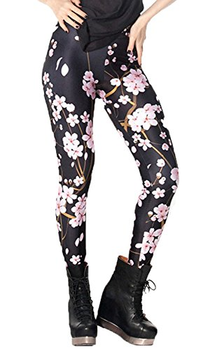 DODOING Leggings Blumenmuster, Cherry Blossom Digital Printed Tight Leggings Yoga Pants Workout Gym Fitness Sports Athletic Pants (Capri Athletic Wear)