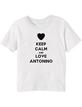 Keep Calm And Love Antonino Bambini Unisex Ragazzi Ragazze T-Shirt  Maglietta Bianco Maniche Corte 46a01cd3b81