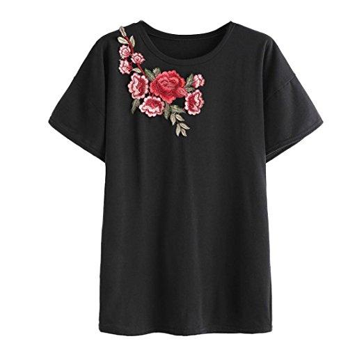 Ularma Damen Elegant Rose Stickerei Bluse Kurzarm Rundhals T-Shirt Tops Schwarz3
