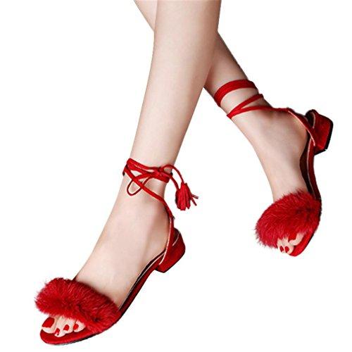 Webla Mode Sandalen Damen-niedrige Fersen-Sommer-Troddel mit Haar-Schuh-Dame-Hochzeits-Sandelholze Komfortsandalen Rot