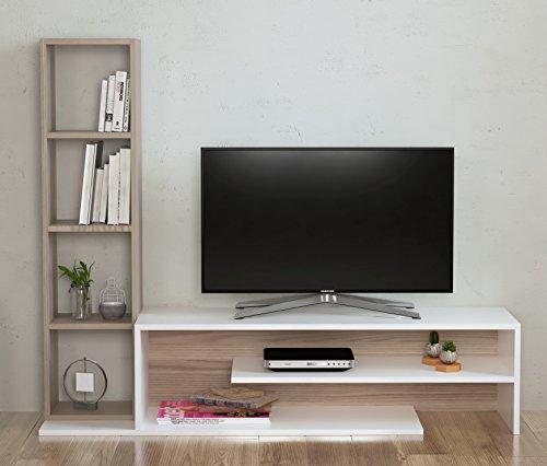 PEONY Ensembles de meubles de salon - Blanc (Brillant) / Avola - Meuble TV avec étagères en moderne design