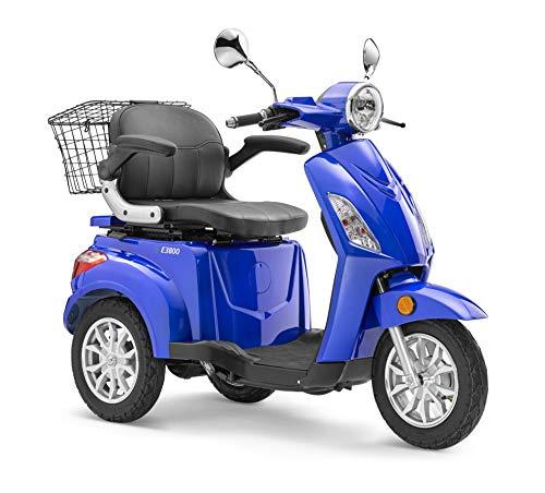 Elektroroller LuXXon E3800 - Elektro Dreirad für Senioren mit 800 Watt, max. 20 km/h, Reichweite bis zu 60 km, blau