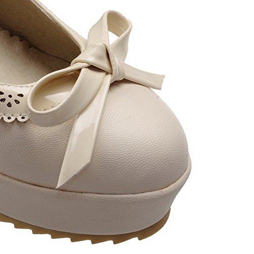 AllhqFashion Femme Matière Souple Rond à Talon Haut Tire Chaussures Légeres Beige