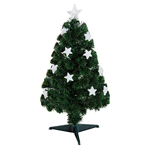 HOMCOM Árbol de Navidad Artificial con Soporte Fibra Óptica Brillante LED Multicolor Ignífugo