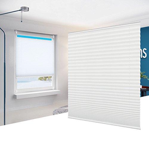 Bellemax tende plissettate tenda plissè oscurante senza viti con morsetto di montaggio per finestre bianco 60 x 130 cm