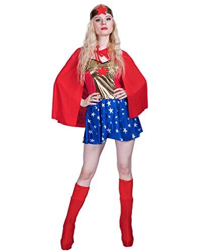 JANDZ Karneval Kostüme: Erwachsene Frauen Cosplay Outfit: Superheld: Wonder Lady