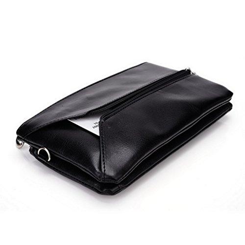 Kroo Pochette Portefeuille en Cuir de Femme avec Bracelet Étui pour Samsung Galaxy Note 4Duos noir - Black and Blue noir - Black and Blue