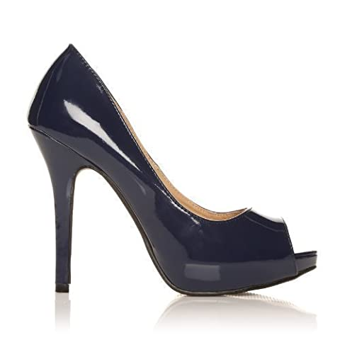 TIA Navy Patent PU Leather Stiletto High Heel Platform Peep Toe Shoes Size UK 6 EU 39