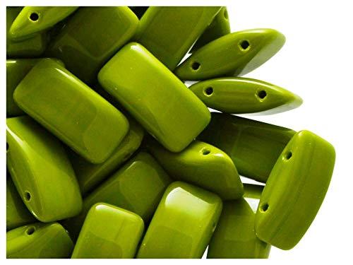 15 Stück Carrier Bead - Tschechische gepresste Glasperlen in Form von Kissen 9x17 mm, zwei Löcher, Lime Green Opaque (Green Gläser Lime)